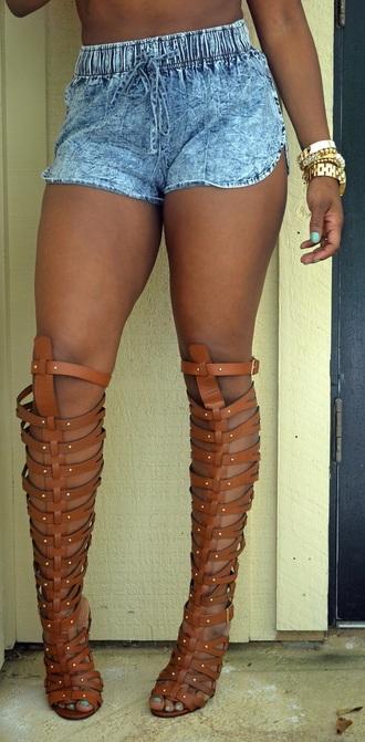 shorts jean sandals shoes