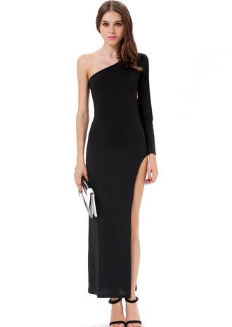 black maxi dress one shoulder maxi dress one shoulder one sleeve dress one shoulder slit dress one shoulder maxi slit dress black one shoulder dress