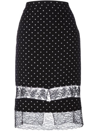 skirt embroidered lace black