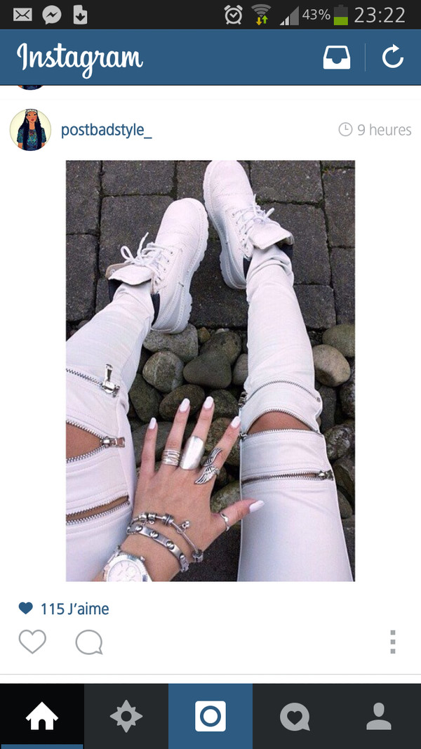white pants shoes leggings tights zipped pants white jeans jeans silver jewelry pants white