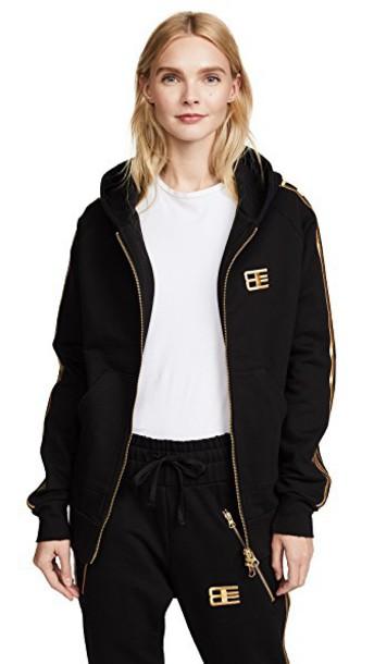 Baja East hoodie zip gold black sweater