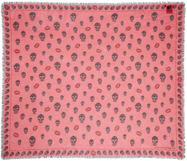 Alexander Mcqueen skull scarf pink