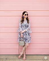 dress,tumblr,mini dress,floral,floral dress,bell sleeves,bell sleeve dress,sandals,pink sandals,mid heel sandals,sunglasses,earrings,bag,handbag,jewels,shoes