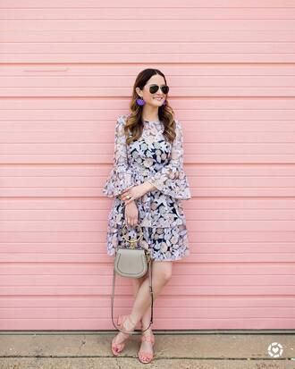 dress tumblr mini dress floral floral dress bell sleeves bell sleeve dress sandals pink sandals mid heel sandals sunglasses earrings bag handbag jewels shoes