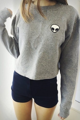 sweater alien grey sweater top shorts