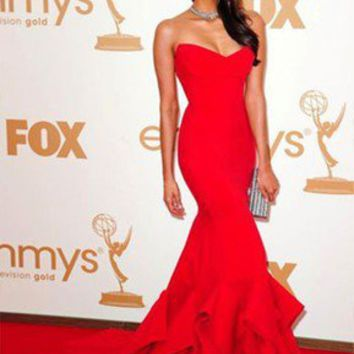 Vogue Red Mermaid Emmy Awards Celebrity Party Long Prom Ball Gown Evening Dress on Wanelo