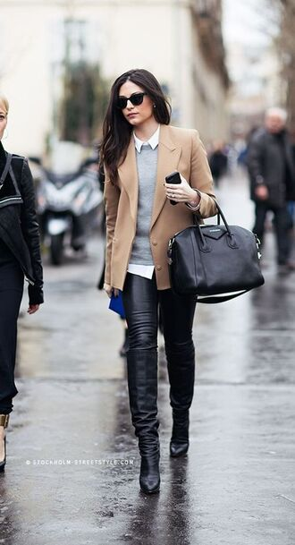 jacket grey sweater white shirt leather boots black sunglasses beige jacket white collared shirt leather pants black leather pants black leather bootie knee high boots black knee high boots givenchy givenchy bag black tote office outfits
