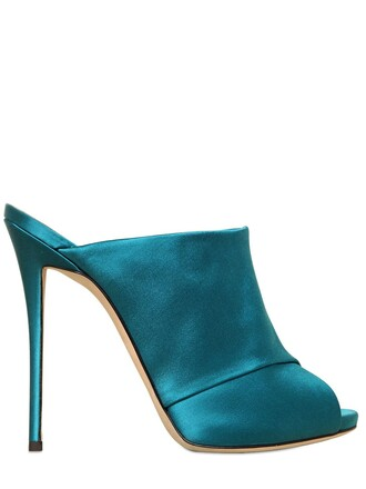 sandals silk satin turquoise shoes