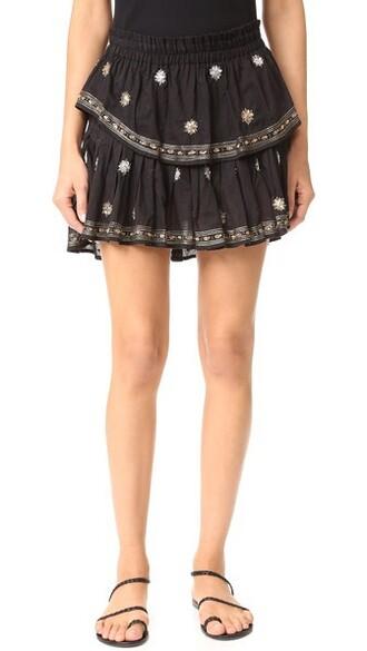 miniskirt ruffle black skirt