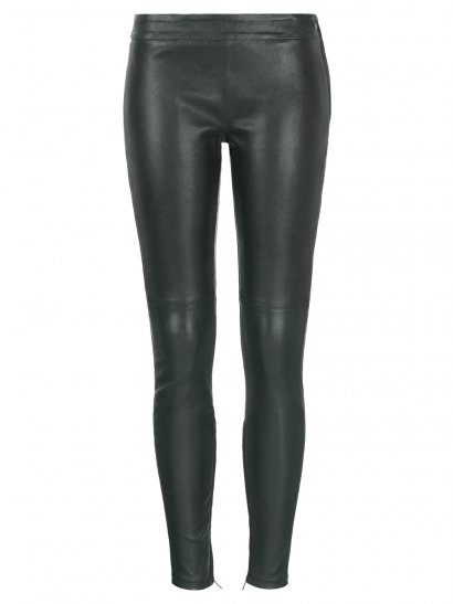 Rica Stretch Leather Leggings in Bottle Green
