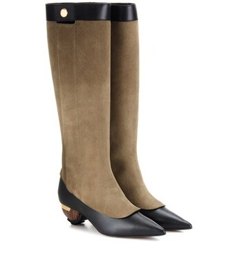 knee-high boots high embellished boots leather suede brown shoes