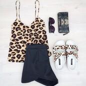 shoes,shorts,skirt,black,leopard print,sandals,ring,bag,sunglasses,lace,black bikini,black leather skirt,friends,High waisted shorts,tank top,leather shorts