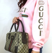 sweater,pink,gucci,sweatshirt,bag