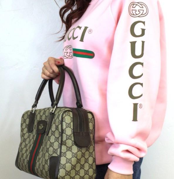 sweater, pink, gucci, sweatshirt, bag - Wheretoget