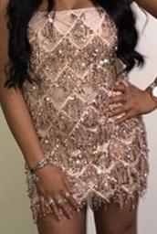 dress,rose gold tassel dress