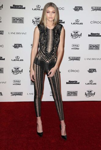 jumpsuit lace see through gigi hadid pumps shoes ny fashion week 2016