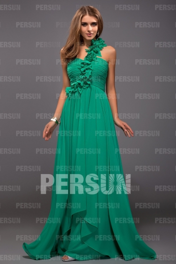 One shoulder Green tone Empire Flowers Ruching Bridesmaid dress [PPCG2465]- US$ 139.99 - PersunMall.com