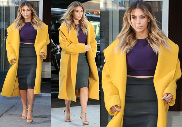 celebrity style kim kardashian coat mustard
