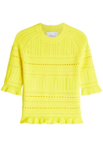 top knit crochet yellow