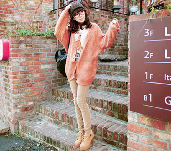 brown pants brown jeans pants beige pants shoes bag pink sweater knit sweater pink cardigan salmon sweater salmon cardigan scooby-doo shirt scooby shirt t-shirt cute heels brown heels lace heels ulzzang fashion kfashion sweater
