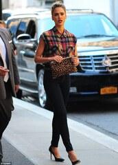 shirt,tartan,skinny jeans,clutch,black high heels,jeans,black jeans,black skinny jeans,tartan shirt,animal print bag,bag