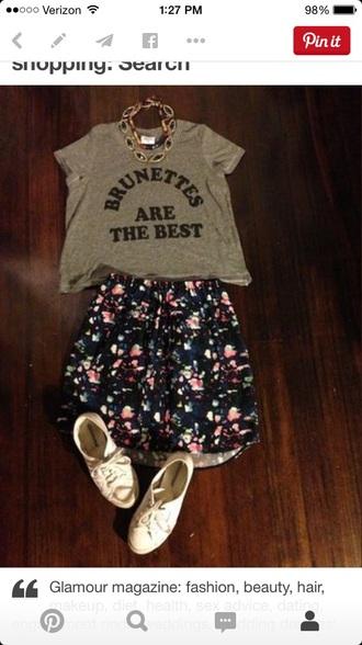 shirt brunette t-shirt graphic tee flower skater skirt shoes style skirt