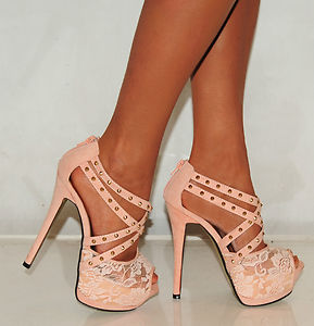 NUDE LACE STRAPPY STUDS STILETTO PLATFORMS HIGH HEELS PARTY PROM SHOES SIZE 3-8 | eBay