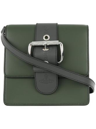 cross metal women bag leather cotton green