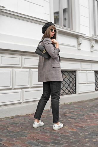 jacket tumblr blazer grey blazer bag black bag beret hat denim jeans black jeans sneakers white sneakers low top sneakers