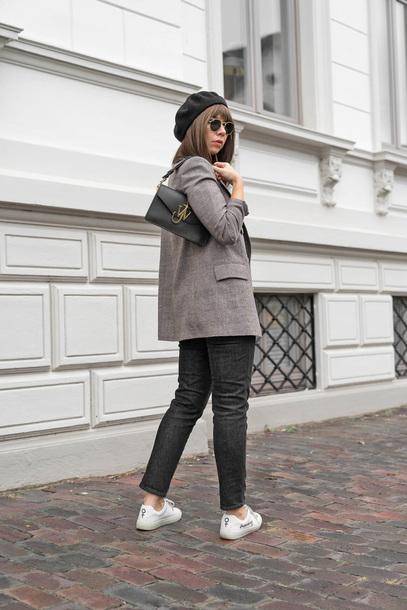 jacket tumblr blazer grey blazer bag black bag beret hat denim jeans black jeans sneakers white sneakers low top sneakers