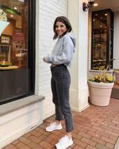 jeans,black jeans,white sneakers,adidas,grey hoodie
