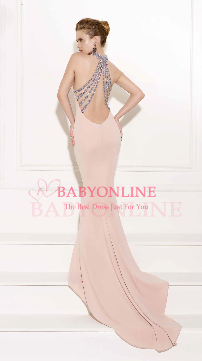 Aliexpress.com : Buy Customized High Neck Off Shoulder Long Mermaid Pink Women Evening Dresses 2014 Crystals Beaded Strapy Back Vestidos De Festa from Reliable beading designs for dresses suppliers on Suzhou Babyonlinedress Co.,Ltd