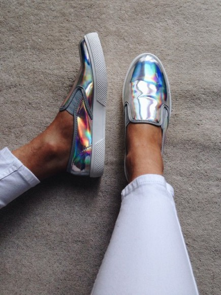 shoes silver slip on shoes metallic shoes slip on tumblr women sneakers holographic hologram metallic flourescent vans nice cute loafers step in cool white plimsolls fashion skaters skater shoes slippers iridescent metalic sneakers