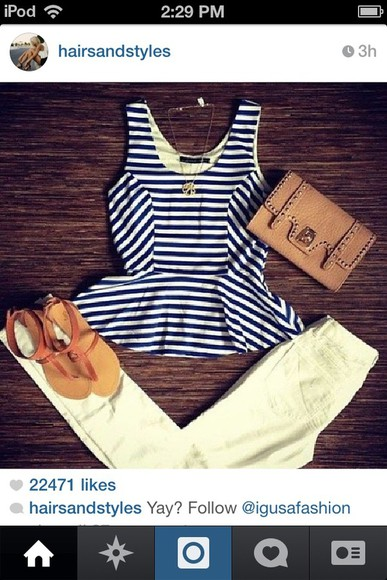 shirt stripes peplum top navy blue and white stripes tank top