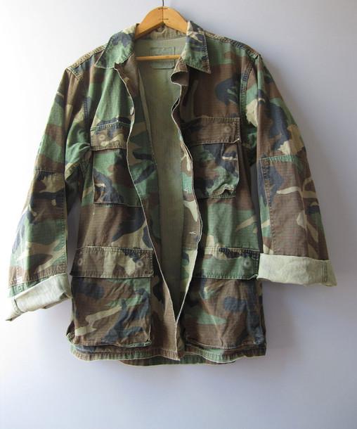 jacket camouflage camo jacket army green jacket vintage camouflage jacket