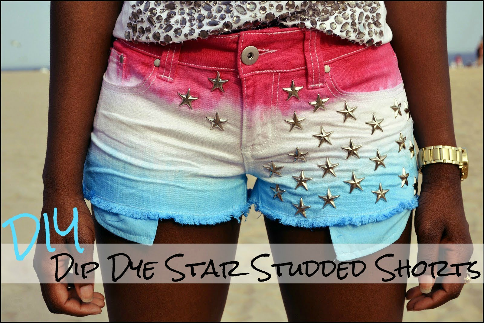DIY Dip Dye Star Studded Shorts - YouTube