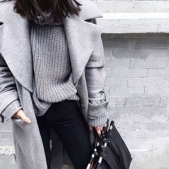 coat bag winter outfits style fashion grey sweater grey coat knitted sweater sweater weather knitwear boyfriend coat wool coat winter coat sweatshirt sweet winter sweater tumblr outfit lookbook store grey white snap buttons shirt silver