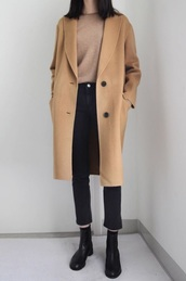 coat,brown,automne coat,shirt,coffee,kfashion,fall sweater,kfashion probably,sweater,fall outfits,hipster,casual,fall colors,beige coat,camel coat,winter coat,autumn/winter,wool,wool coat