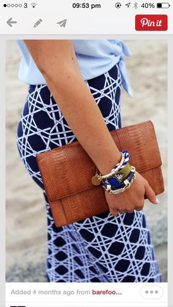 skirt blue bag jewels pattern