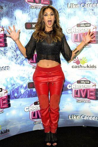 pants red pants nicole scherzinger crop tops top