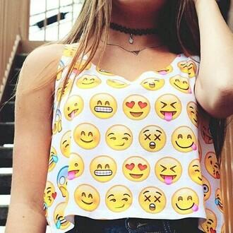 tank top smiley top emojis crop top emoji print blouse emoji emoji shirt