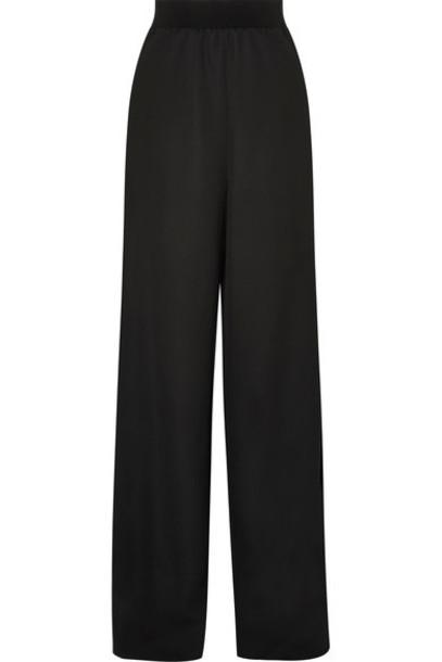 pants wide-leg pants black wool satin