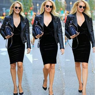 dress velvet dress all black everything candice swanepoel pumps jacket biker jacket fall outfits