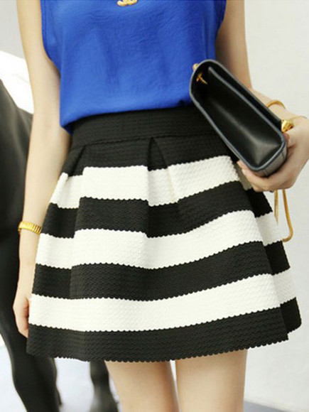 skirt short skirt banggood black&white stripe