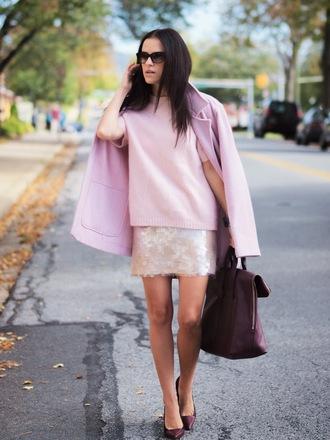 bittersweet colours coat sweater jewels skirt sunglasses shoes bag
