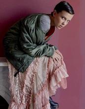 skirt,eleven,pink,pink dress,stranger things,lace,vintage,millie brown,millie bobby brown