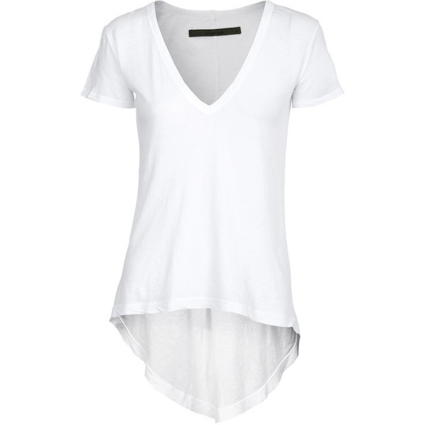 Enza Costa Tail White V-Neck T-Shirt - Polyvore