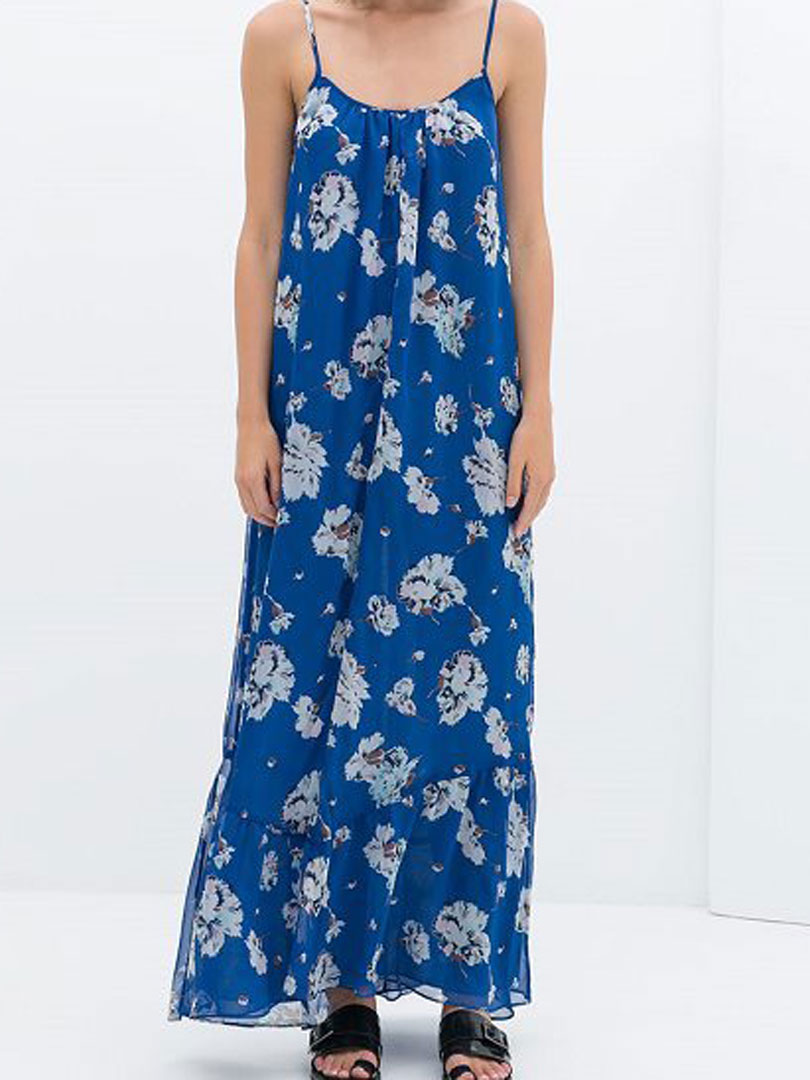 Blue Floral Chiffon Spaghetti Strap Dress - Choies.com