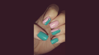 green nail polish green nails pink nails pink nailpolish colorful patterns colorblock rhinestones rhinestoned pink seafoam green