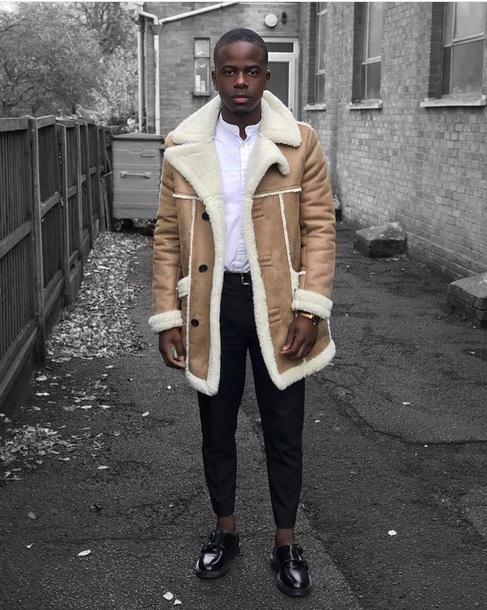 coat tan camel camel coat men's camel coat sheepskin fur faux fur jacket sherling-coat